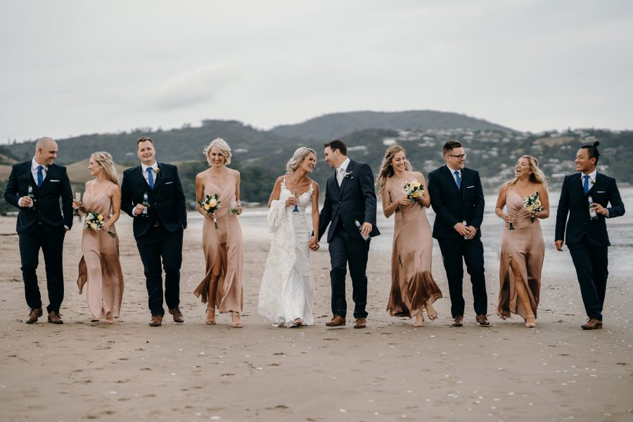 Whitianga Beach Wedding Party at Coromandel in blush pink