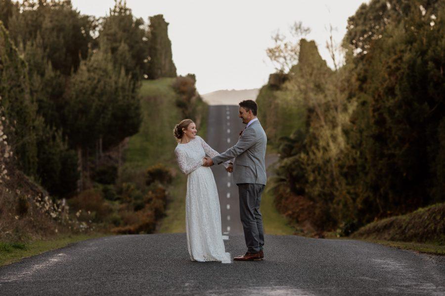 Vintage bride and groom Waihi NZ