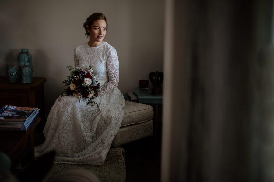 Elopement wedding lace vintage boho dress