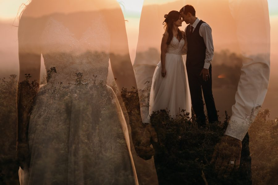 Doulbe exposure late light golden hour wedding image in the country