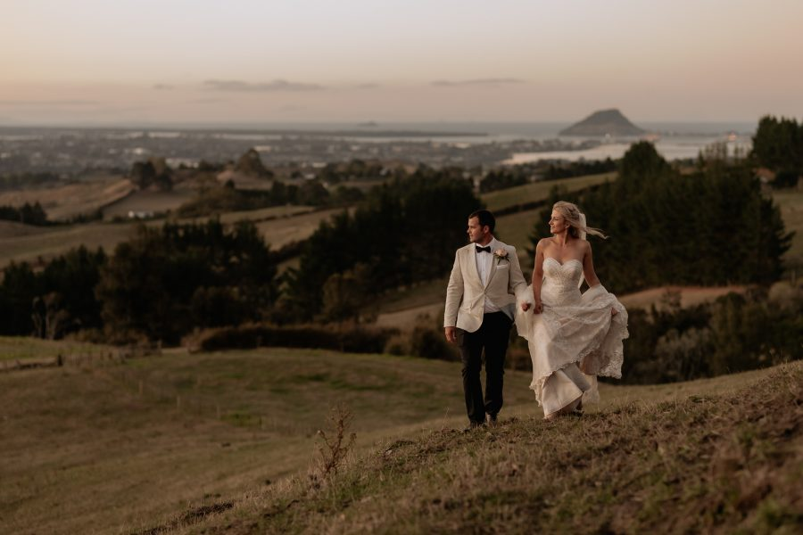 Wedding couple enjoying the country views