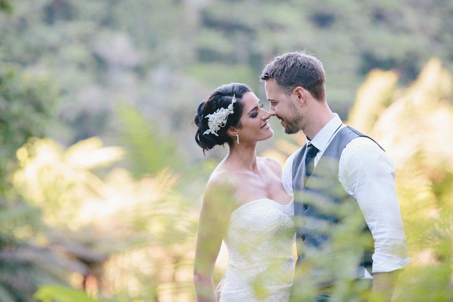 Olive Tree Tauranga  wedding couple in the bush