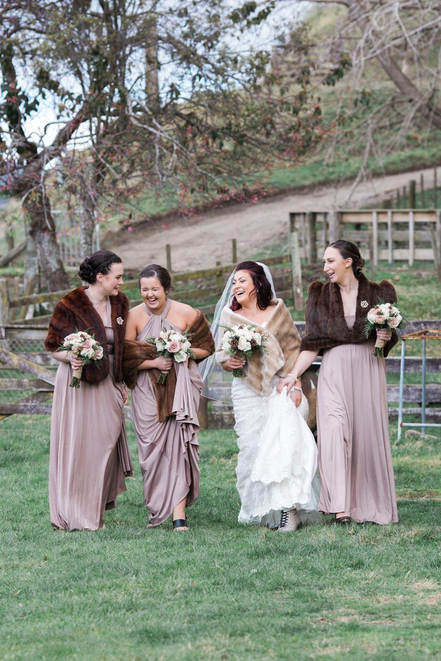 Dusky Pink Winter Wedding Bride and Bridesmaids