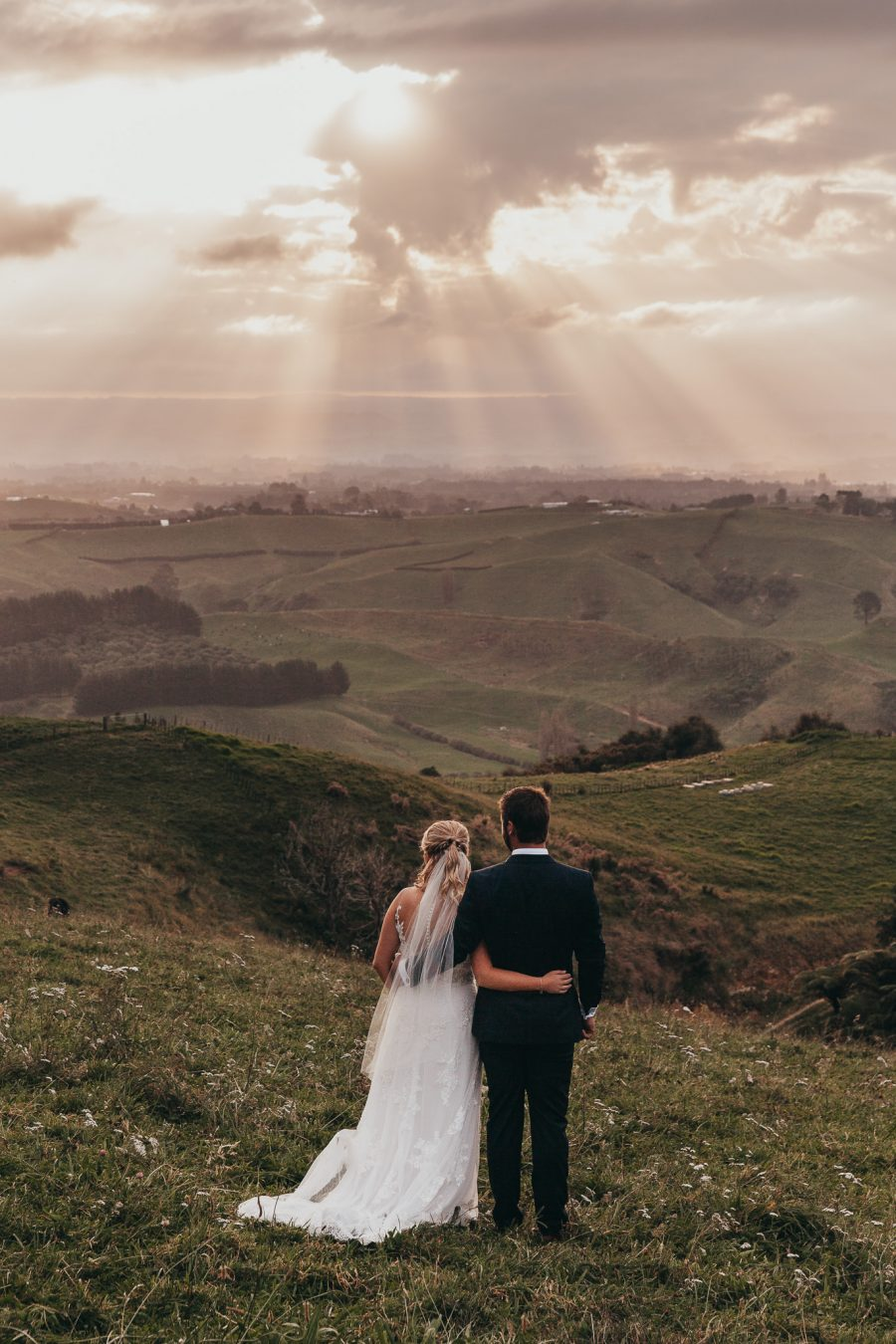 Soaking up the views on their wedding day