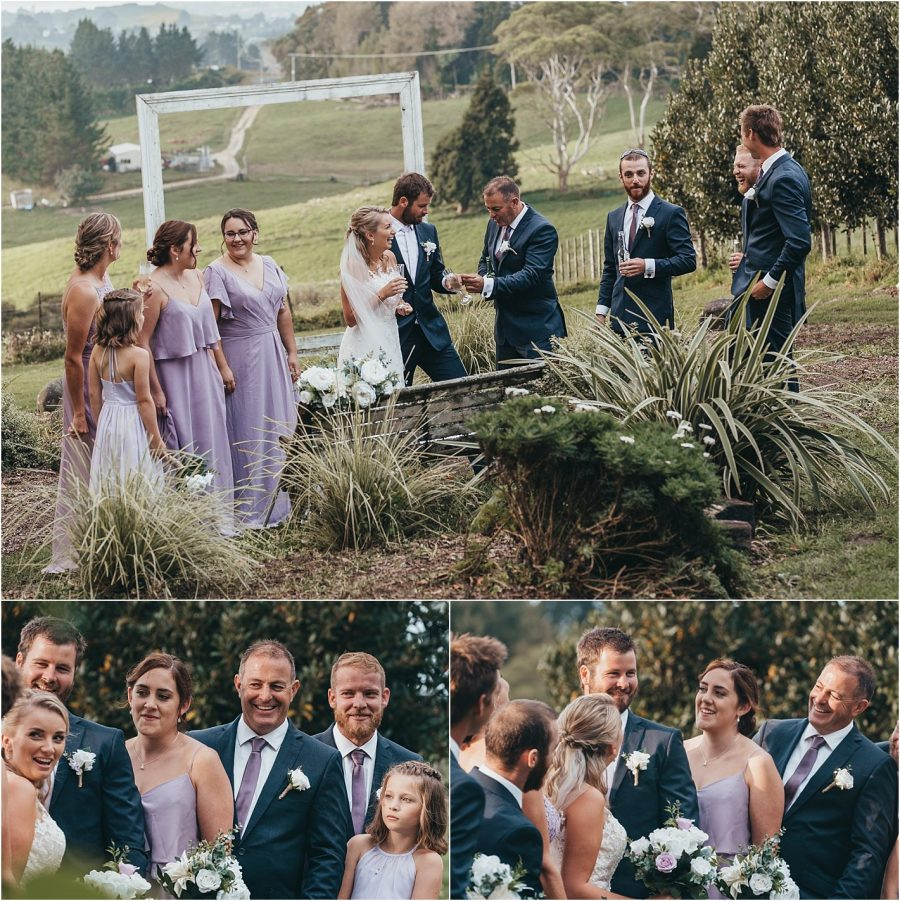 Wedding party fun in lavender and blue