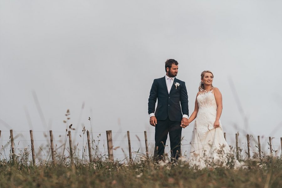 Walking on their wedding day at Eagle Ridge