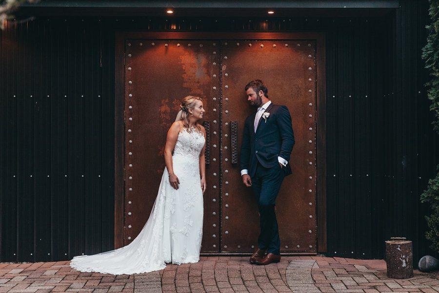 Rustic doors at eagle ridge bride and groom