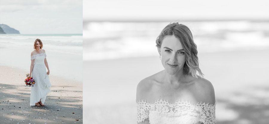 Bride on beach at Waihi