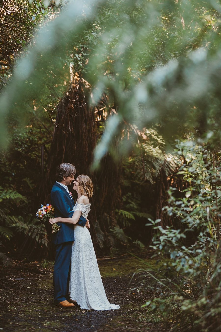 Waihi Reserve bride and groom looking at eachother