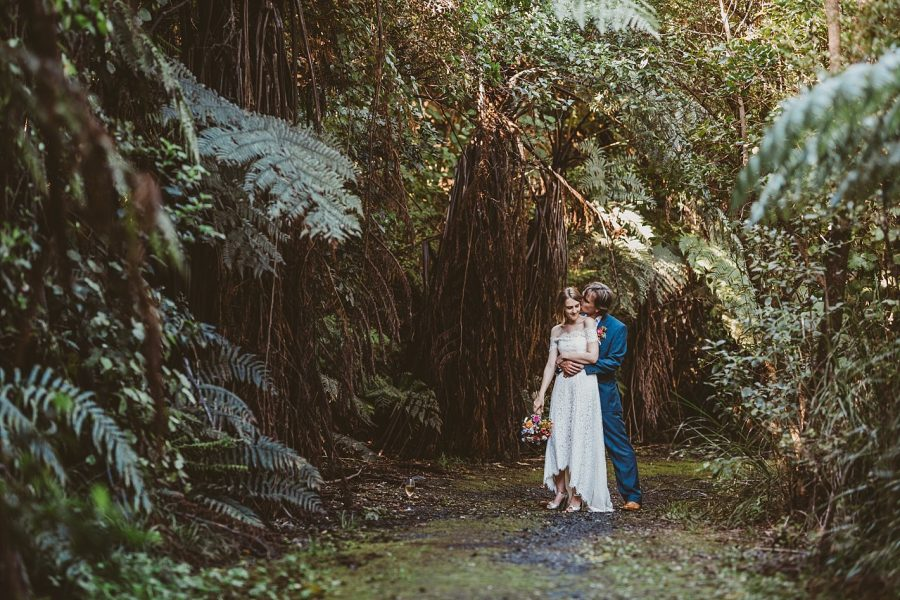 Bush walk waihi Beach bridal couple