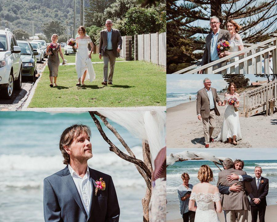 Casual Beach wedding at Waihi Beach