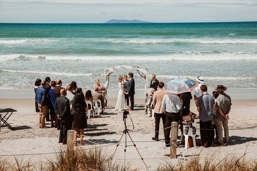 Wedding ceremony at Waihi Beach with Jonette Mead Marriage Celebrant