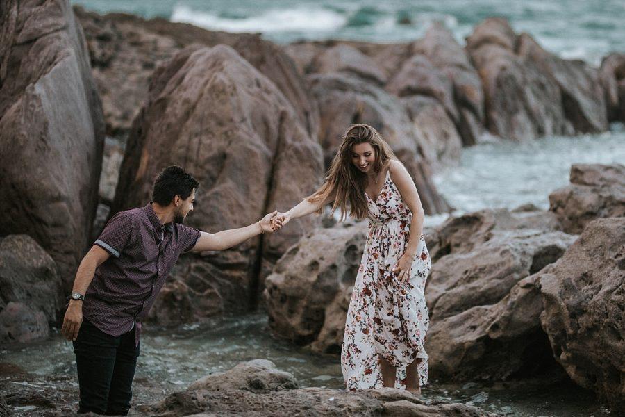 Seaside engaged couple