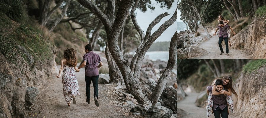 Fun photos of engaged couple