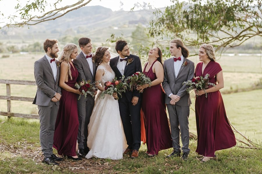 Burgundy and Grey wedding party outfits