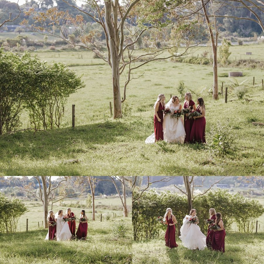 Country vibe rustic bridesmaids in burgundy