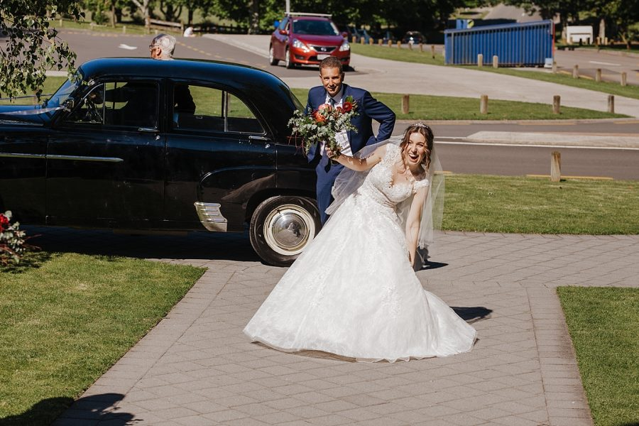 Natural moments bride with father of the bride