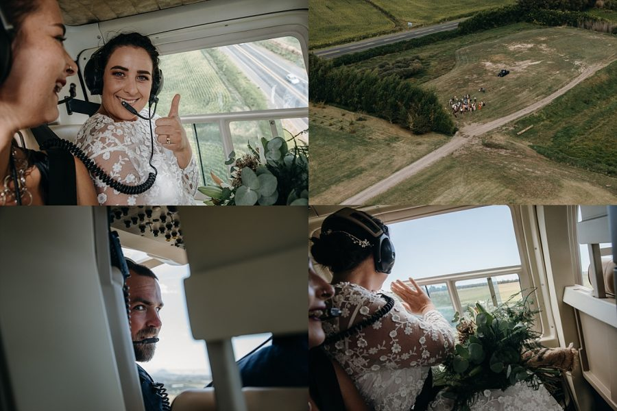 Helicopter flight Papamoa Hills with bride and groom