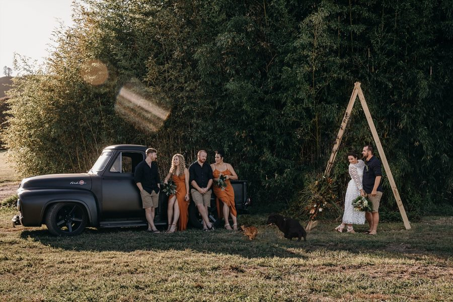 Country vibes wedding party and truck