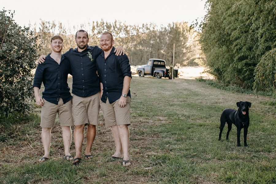 Groom and groomsmen casual dress