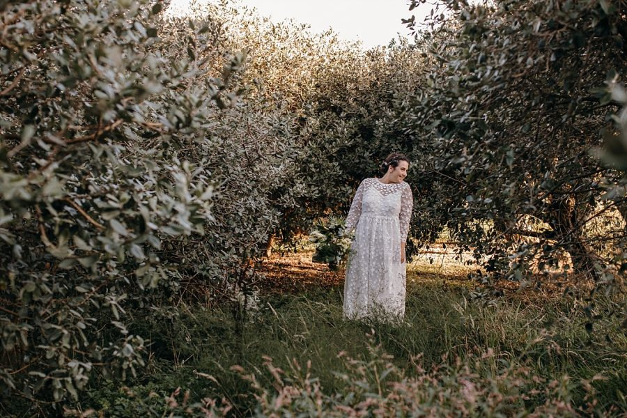 Boho lace country vintage wedding dress