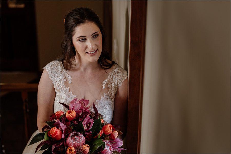 Bridal portrait at Tauranga Air B&B