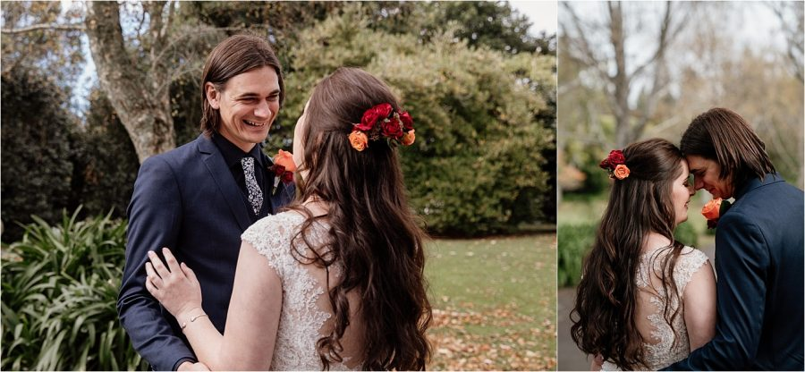 First look moments on wedding day with bride and groom at Olive Tree Cottage