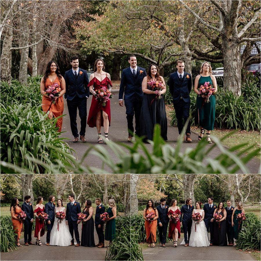 Wedding party in autumn colors