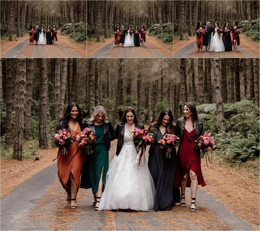 Autumn bridesmaids dresses country style in the woods in Rotorua