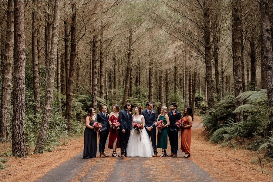 Autumn colours Bridal party in the woods in New Zealand wedding