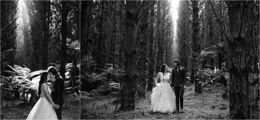 Bride and groom walking winter time in the woods