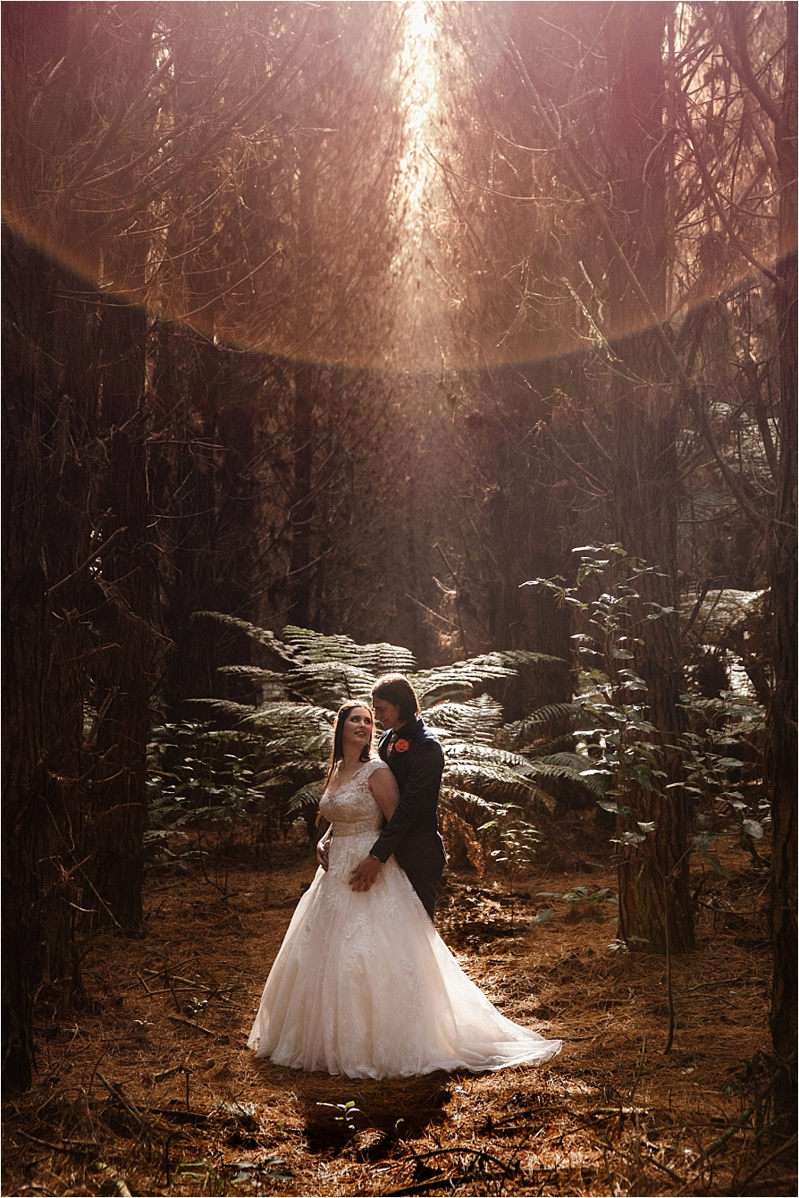 Sunflare in the woods image of wedding couple in Rotorua Forest
