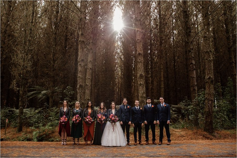 Wedding party autumn colours forest vibes