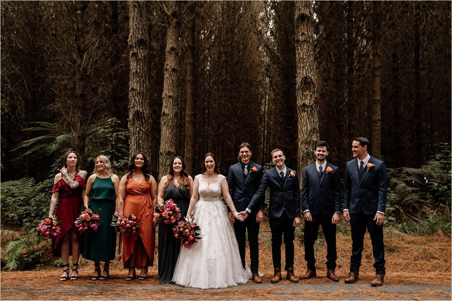 Winter vibes in the woods in New Zealand forest wedding