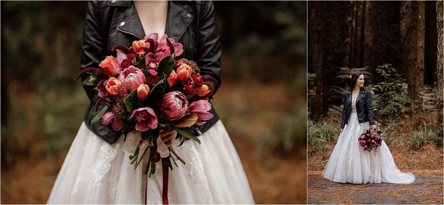 Winter colours country style wedding bouquet