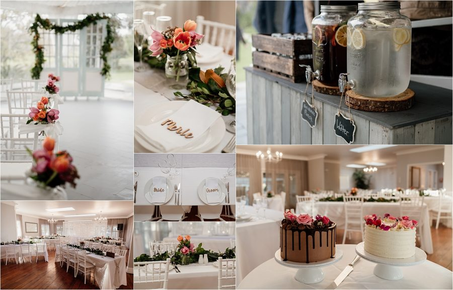 Wedding reception details, flowers table settings and cakes