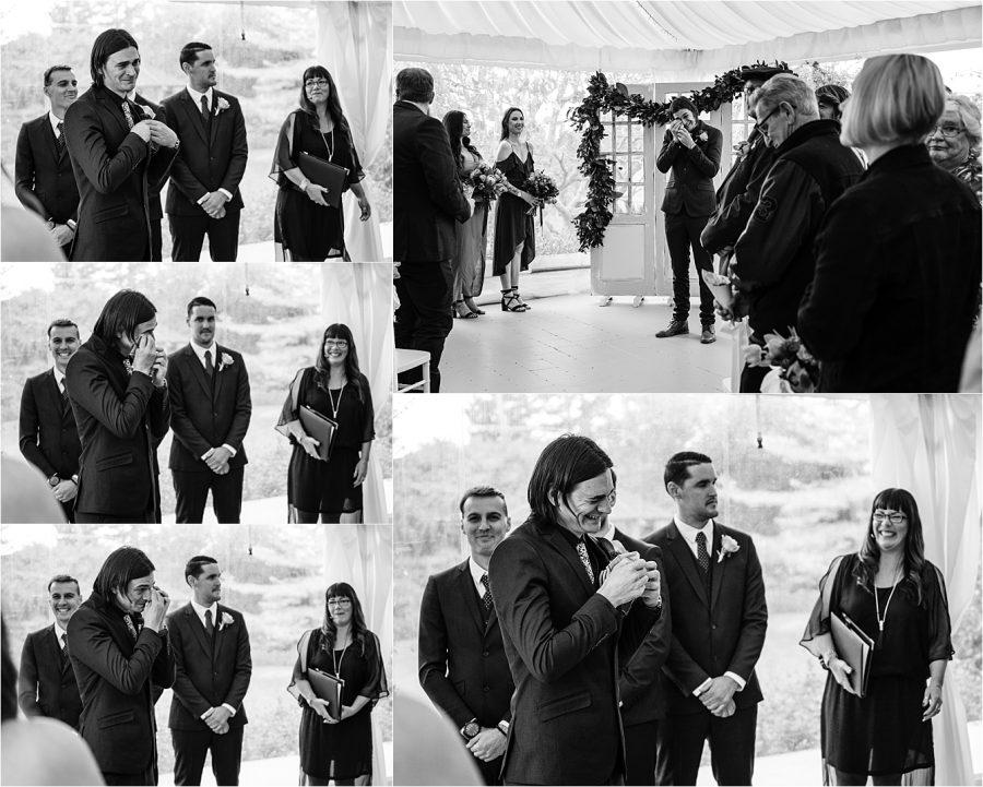 Groom in tears at seeing bride