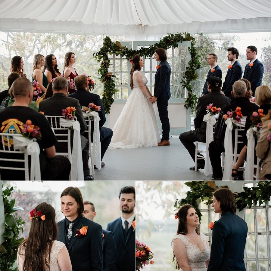 Wedding ceremony in marquee at Olive Tree Cottage