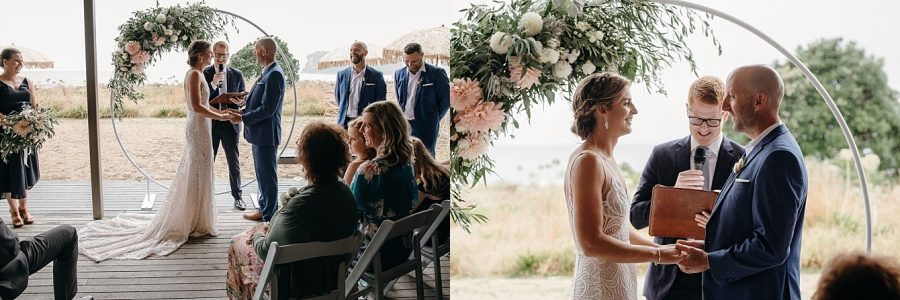 Whangamata beach wedding on rainy day