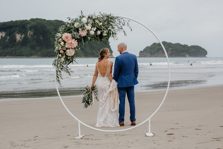 Wedding stand floral arrangement on beach