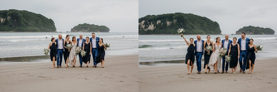 Wedding party on Whangamata Beach on the Coromandel