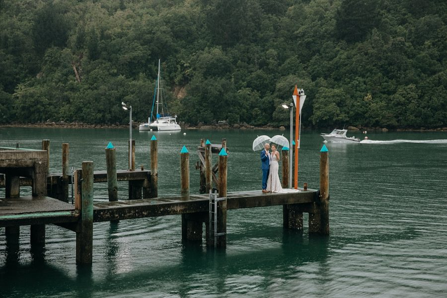 Whangamata pier wedding in the rain