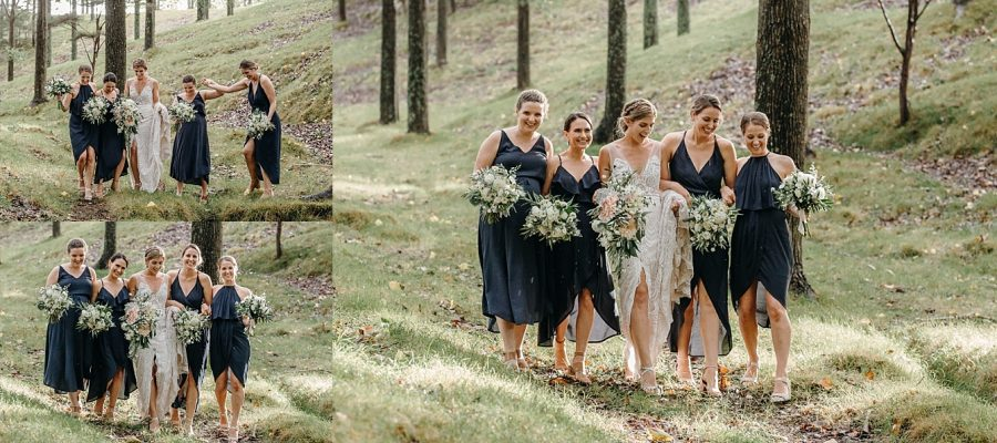Navy Blue bridesmaids with Bride in the country