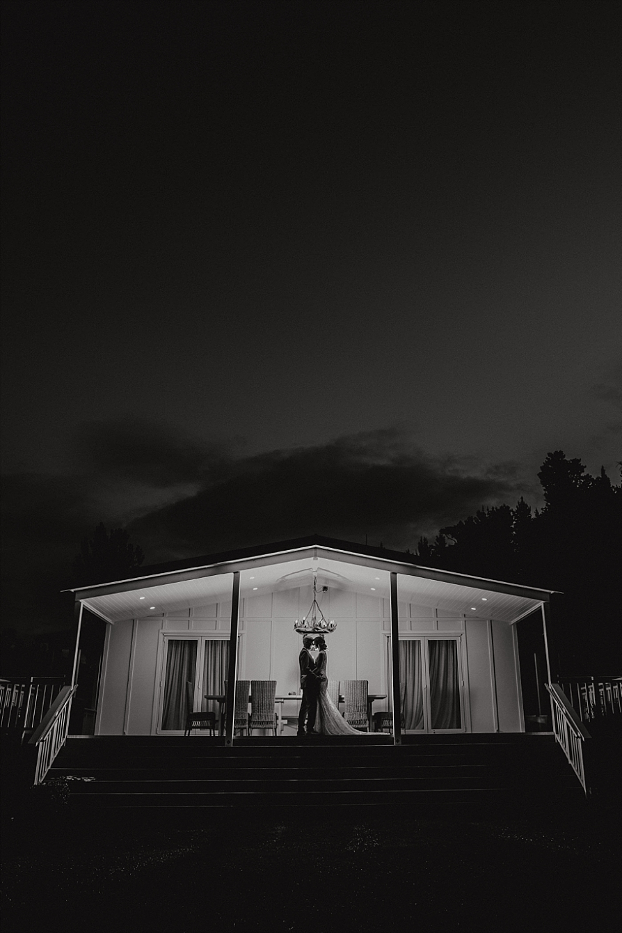 Bride and groom night image Whangamata Farm wedding