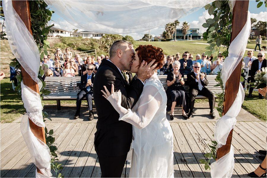 First kiss Mount Maunganui Hart Street wedding