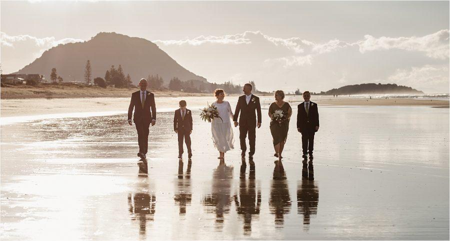 Beach wedding party at Mount Maunganui