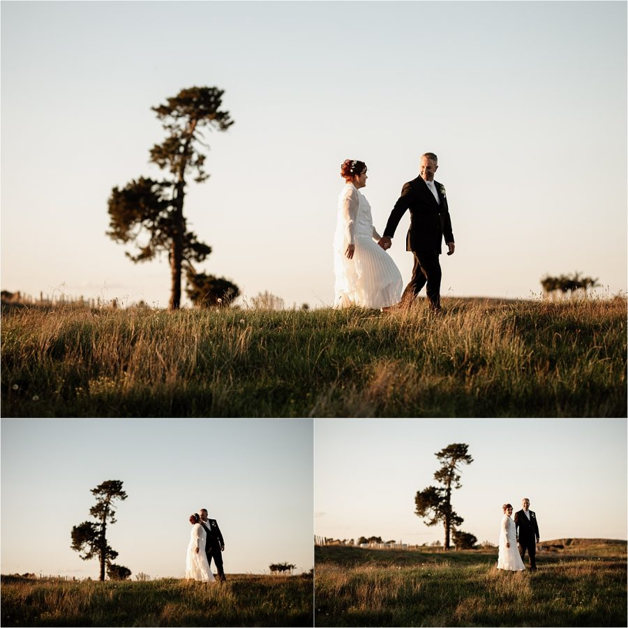 Bride and groom at papamoa country side
