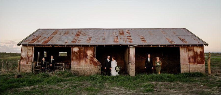 Papamoa country wedding couple by barn