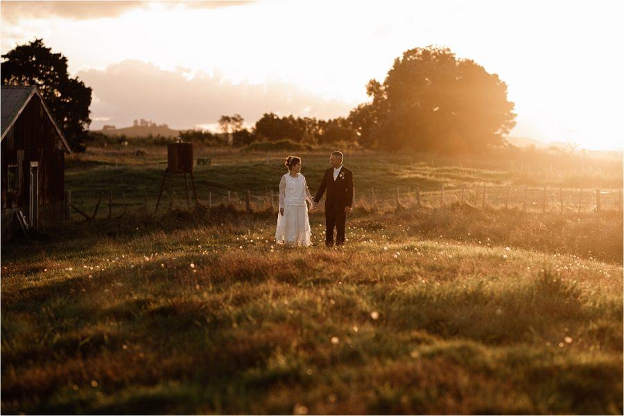 Golden sunset Papamoa Country wedding photo Pure Images Photography