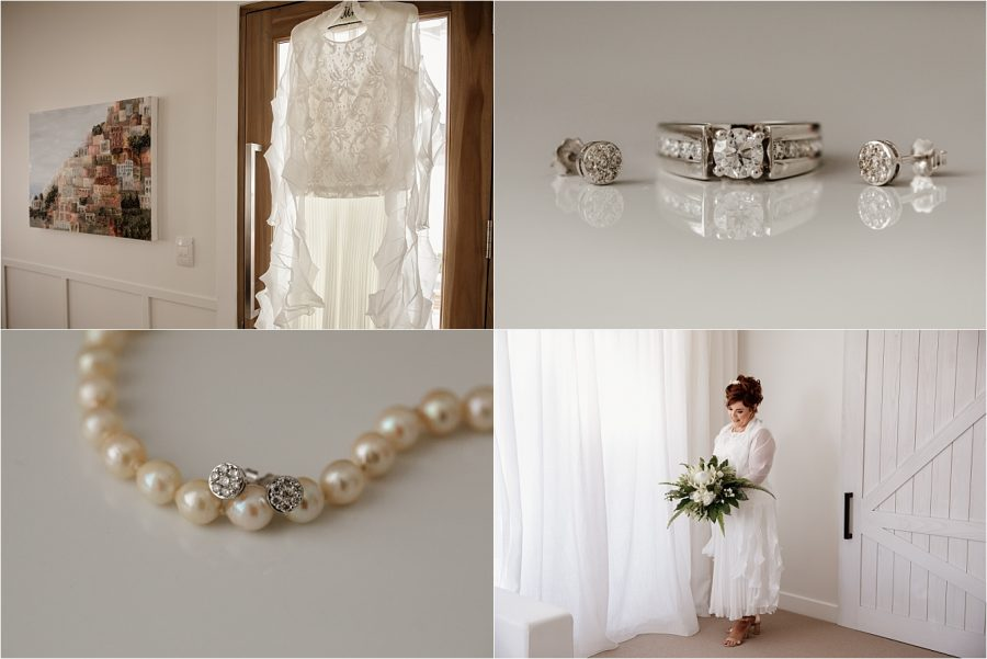 Wedding details dress, engagement ring, pearls and earrings